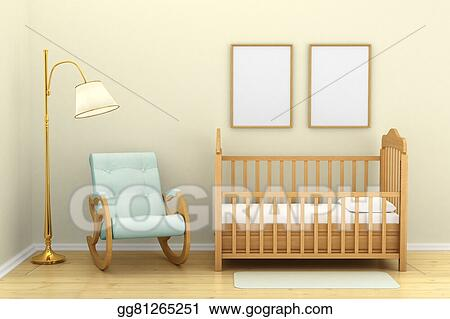 Drawings - Children\'s bedroom with a crib, chair and floor ...