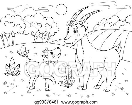 Childrens Cartoon Coloring Book A Family Of Goats In Meadow
