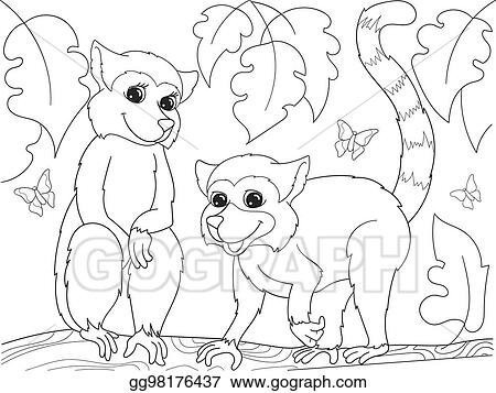 EPS Illustration - Childrens coloring book cartoon family of lemurs ...