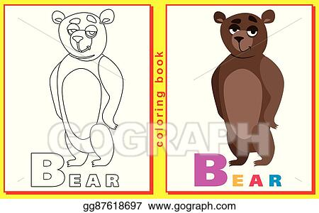 Childrens Coloring Book With Letters And Words Letter B Bear Vector Image