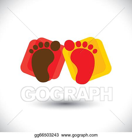 Vector Clipart Childs Colorful Pair Of Foot Print Sign Or Symbol