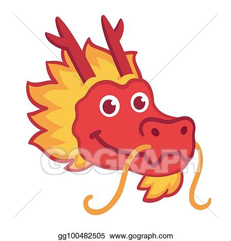 clip art vector red chinese dragon head icon in cute cartoon style chinese nwe year symbol vector illustration stock eps gg100482505
