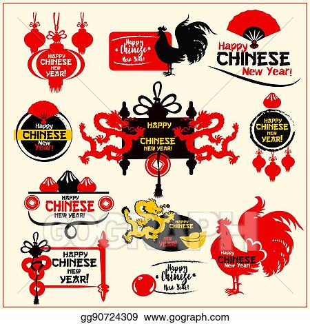 chinese new year badge label and stamp set