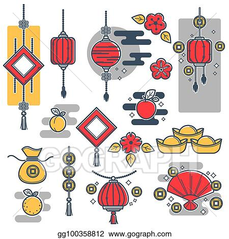 Clip Art Vector - Chinese new year decorations icons ...