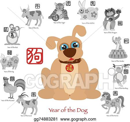 Vector Art Chinese New Year Dog Color With Twelve Zodiacs