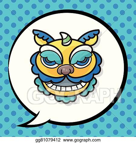 vector art chinese new year dragon and lion dancing head doodle rh gograph com chinese new year clip art 2017 chinese new year clip art bingo