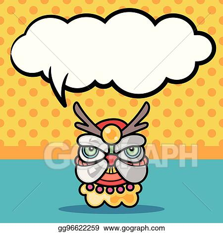 vector art chinese new year dragon and lion dancing head doodle rh gograph com chinese new year dragon clipart black and white