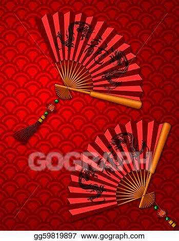 chinese new year dragon fans on scales pattern background - Chinese New Year 1989