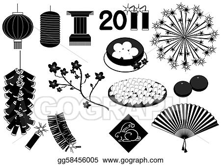 chinese new year elements on white for celebrationsvector black silhouettes