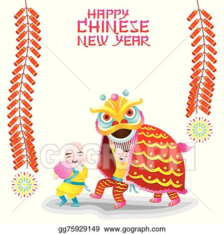 chinese new year frame lion dance