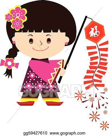 Vector Art Chinese New Year Girl Clipart Drawing