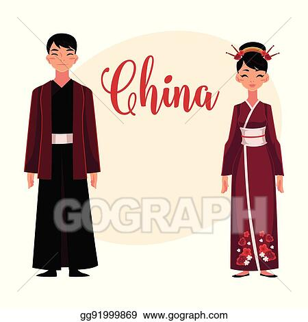 Chinese people in national costumes dress and robe with jacket & Clip Art Vector - Chinese people in national costumes dress and ...