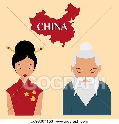 Vector Art Chinese Sensei Old Man Asian Elderly Portrait Woman