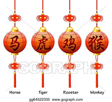Clipart Chinese Symbols On The Lantern Signs Of The Zodiac