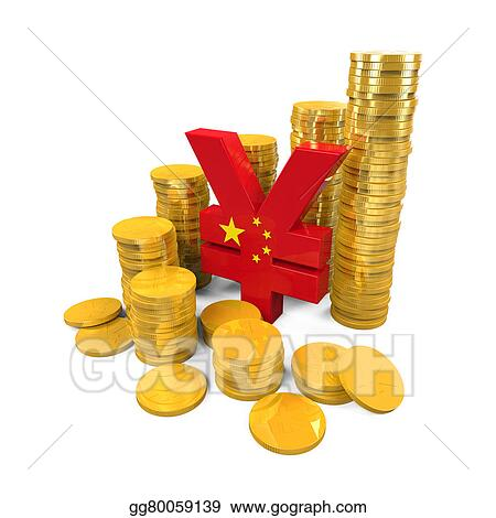 Stock Illustration Chinese Yuan Symbol And Gold Coins Clip Art