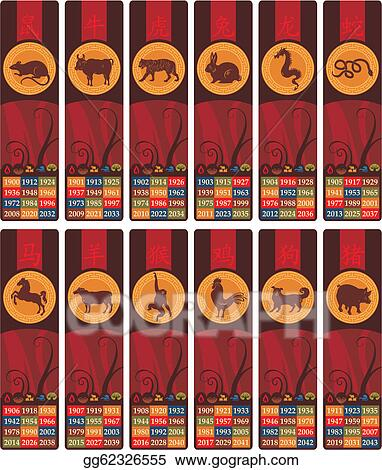 Vector Art - Chinese zodiac bookmarks set  EPS clipart