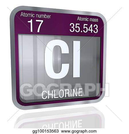 Stock illustration chlorine symbol in square shape with metallic chlorine symbol in square shape with metallic border and transparent background with reflection on the floor 3d render element number 17 of the periodic urtaz Images