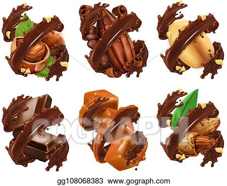 eps illustration chocolate bar nuts caramel cocoa bean in chocolate splash 3d realistic vector vector clipart gg108068383 gograph eps illustration chocolate bar nuts