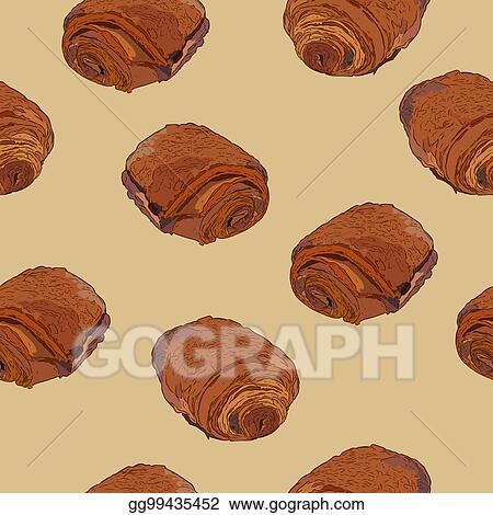 Vector Illustration Chocolate Croissants Pain Au Chocolat