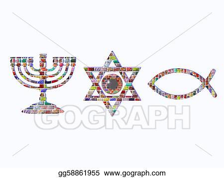 Stock Illustration Christian And Jewish Symbols Clip Art