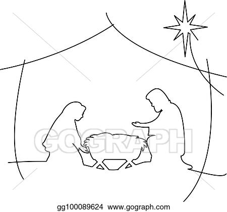 Christian Christmas Nativity Scene Of Baby Jesus In The Manger With Mary And Joseph Vector Illustration Black Outlines Isolated On White Background