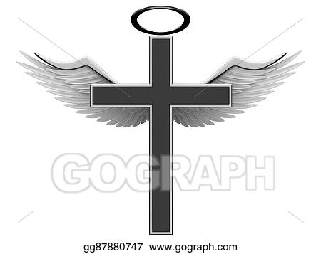 Stock Illustration Christian Cross And Angel Wings Clipart