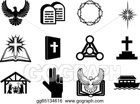Eps Illustration Christian Religious Icons Vector Clipart