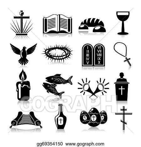 eps illustration christianity icons set black vector clipart