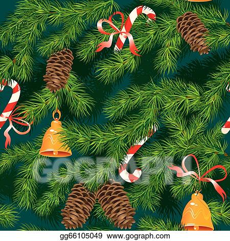 christmas and new year background fir tree texture with xmas accessories seamless pattern