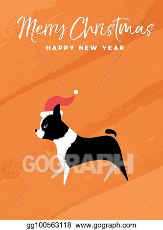 Vector art christmas and new year holiday boston terrier dog eps christmas and new year holiday boston terrier dog m4hsunfo