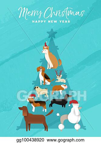 Christmas Beagle Clipart.Vector Illustration Christmas And New Year Pine Tree Dog