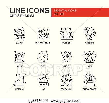 christmas and new year simple line design icons set
