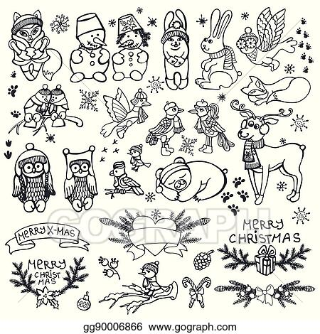 Christmas Images Cartoon Black And White.Eps Vector Christmas Animals Set Funny Winter Woodland