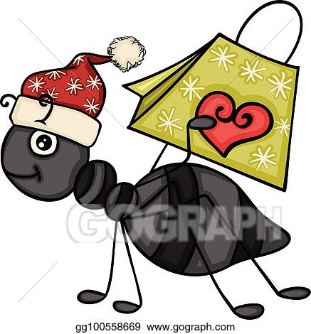 Christmas Ant Carrying A Gift Bag