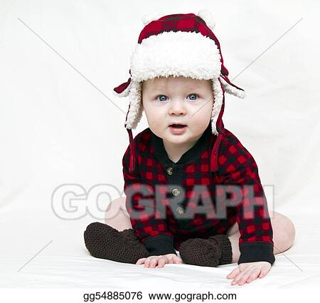 christmas baby with red plaid shirt and furry wool hat - Christmas Plaid Shirt