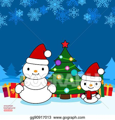 Christmas Gift Card Poster.Vector Clipart Christmas Background With Adult And Baby