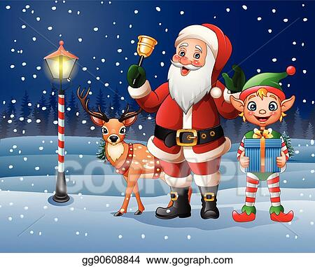 vector illustration christmas background with santa claus deer