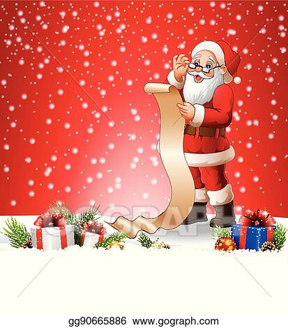 Christmas Background Clipart.Vector Illustration Christmas Background With Santa Claus