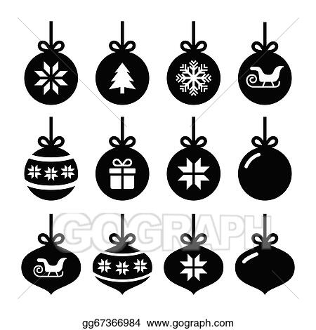 Christmas Balls Clipart Black And White.Vector Art Christmas Ball Christmas Icons Clipart