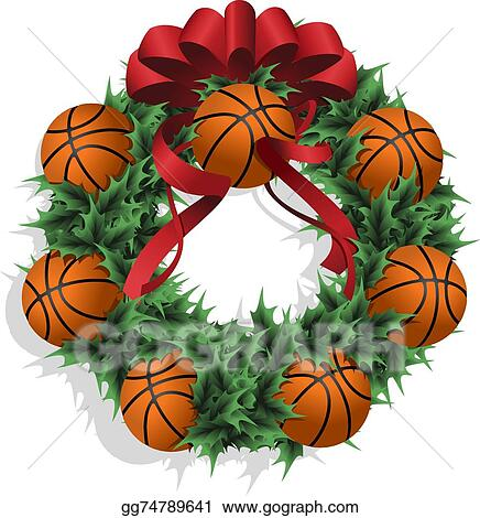Vector Clipart - Christmas basketball wreath with red ...