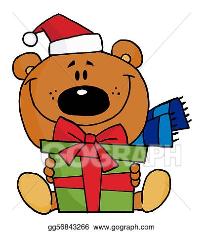 Christmas Giving Clipart.Vector Art Christmas Bear Holding A Present Clipart