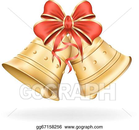 christmas bells with red bow on white background xmas decorations vector eps10 illustration