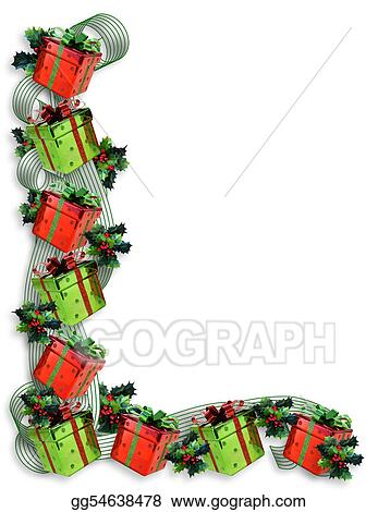stock illustration christmas border gifts and holly clip art rh gograph com