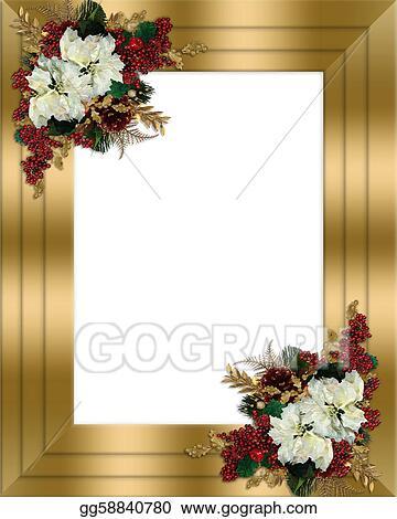 clipart christmas border gold floral stock illustration