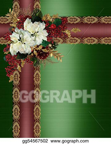 stock illustration christmas border holly ribbons and flowers