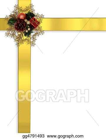 stock illustration christmas border ribbons gold clipart drawing