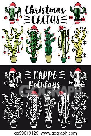 Christmas Cactus Clipart.Vector Clipart Christmas Cactus Vector Set Vector