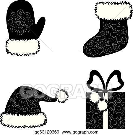 Vector Clipart Christmas Cap Socks Gloves And Gift Vector Illustration Gg63120369 Gograph