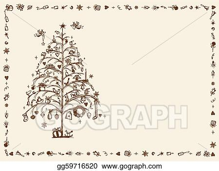 Vector Illustration Christmas Card Sketch Drawing For Your Design Eps Clipart Gg59716520 Gograph