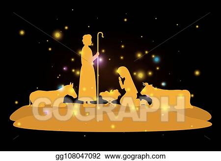 Vector Art Christmas Card With Holy Family And Animals Clipart Drawing Gg108047092 Gograph
